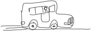 Cartoon drawing of a delivery van